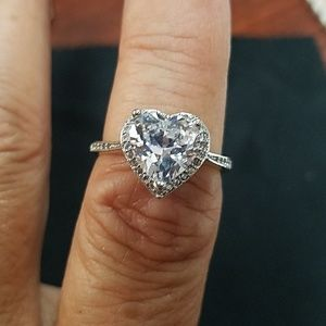 Heart shaped cz ring/engagement ring